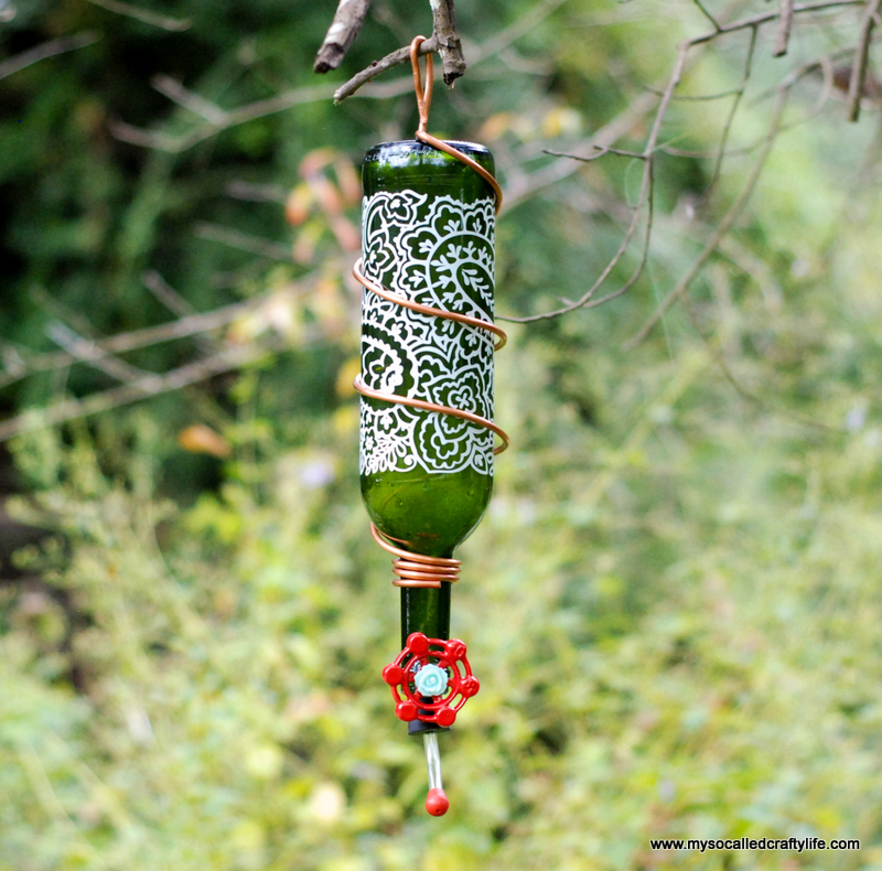 wine bottle hummingbird feeder | My So Called Crafty Life