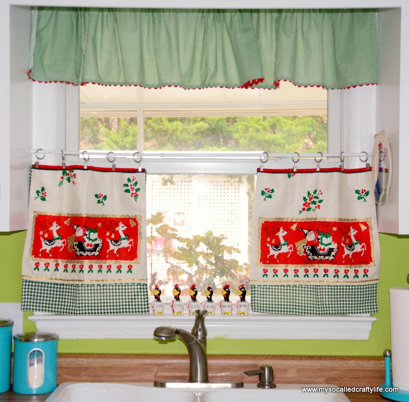 Diy Upcycled Vintage Tea Towel Christmas Curtains My So Called Crafty Life