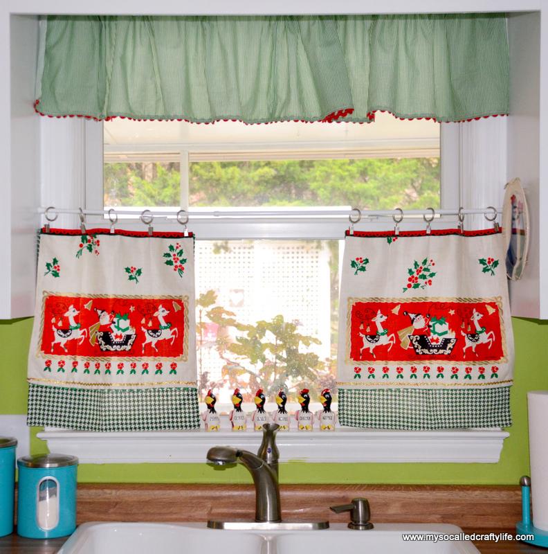 Kitchen Curtains Fabric Vintage Ki Curtains Fabric: DIY Upcycled Vintage Tea Towel Christmas Curtains
