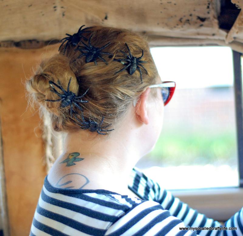 5 DSC 0195 Five Minute DIY Halloween Spider Hair Clips