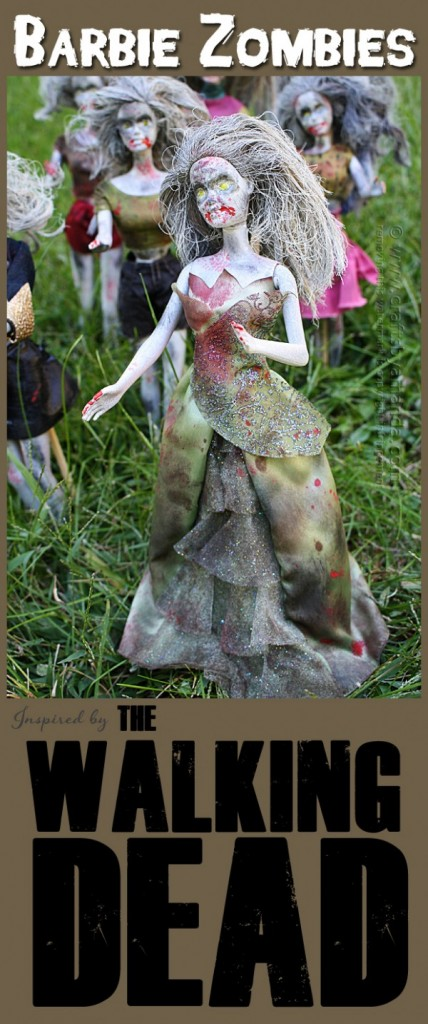 barbie zombies the walking dead pin me 600x1433 428x1024 Halloween DIY Round Up  October 2014