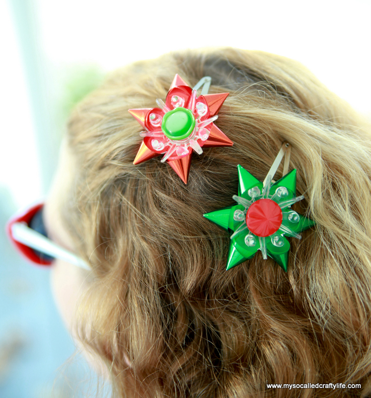 3 IMG 1306 DIY Fast and Easy Vintage Christmas Light Reflector Hair Pins