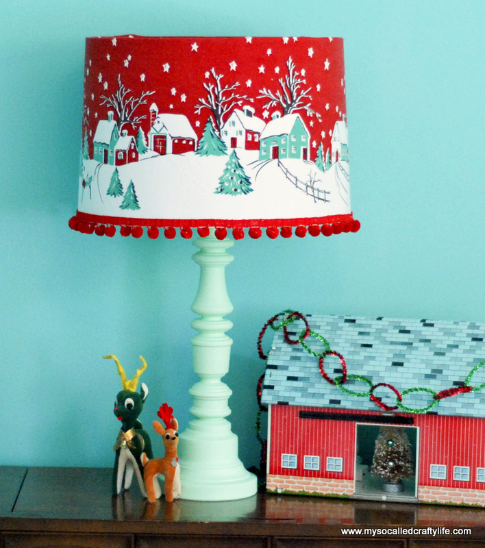 christmas fabric covered lampshade with pom pom trim