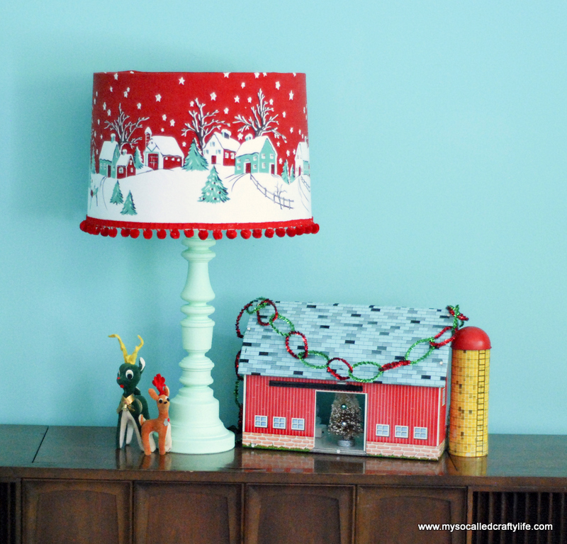 diy vintage tablecloth covered christmas lampshade my so called crafty life