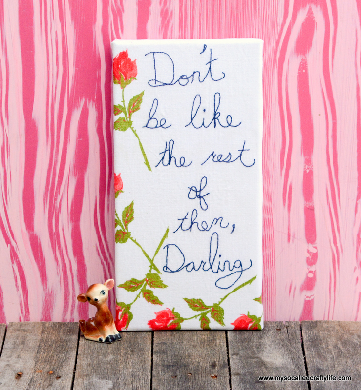 08 DSC 1510 DIY Embroidered Vintage Linen Canvas Art