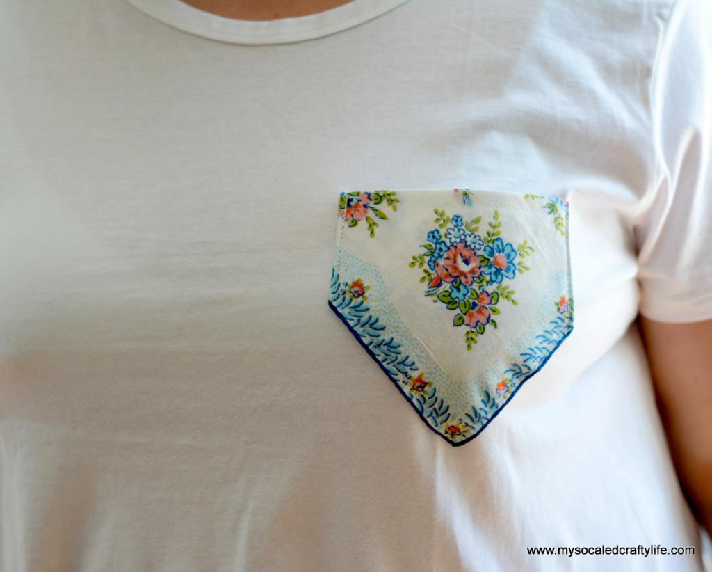 02 aqua hanky pocket 1024x822 Easy DIY Vintage Hanky Pocket Tee
