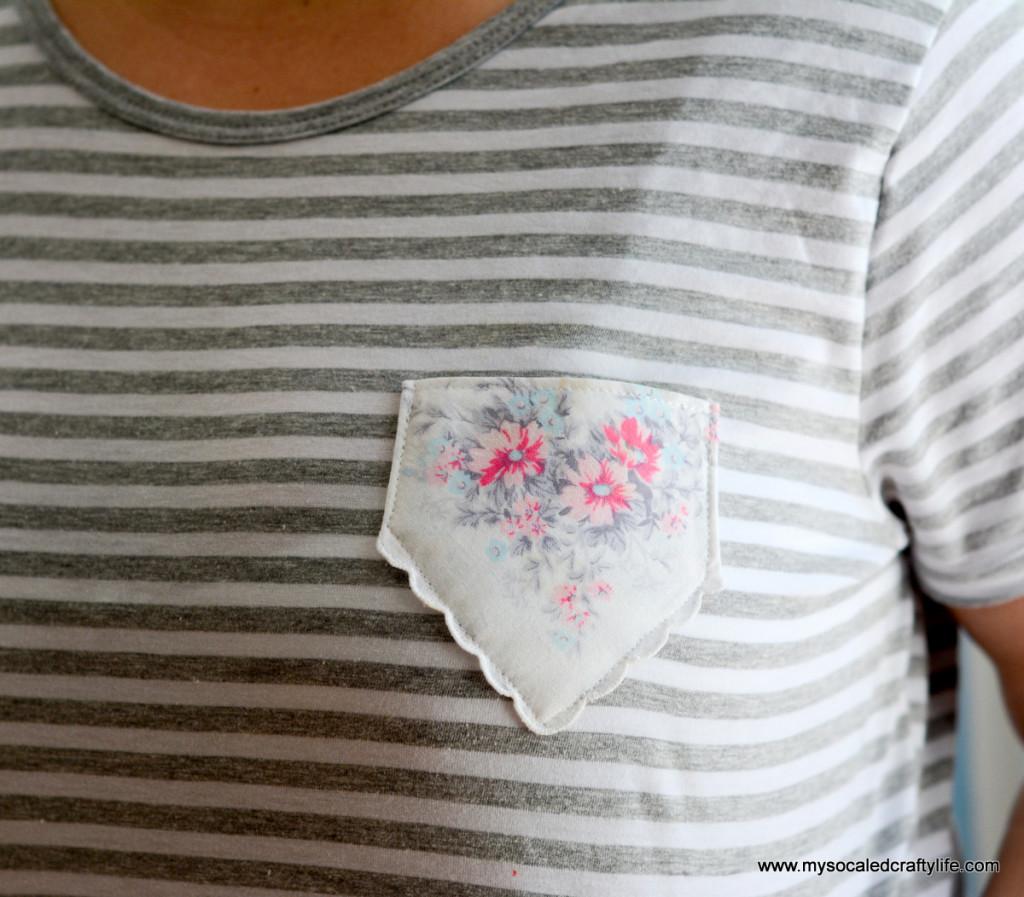 03 striped tee with pocket 1024x897 Easy DIY Vintage Hanky Pocket Tee