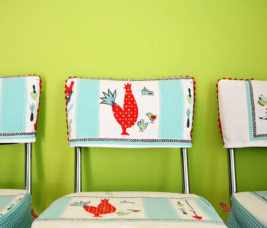 03 DSC 4472 DIY Custom Chair Seat Covers with A Vintage Tablecloth