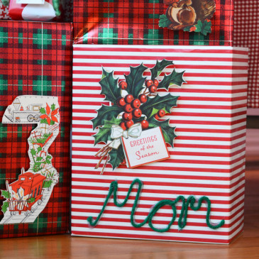 DIY Vintage Christmas Card Dimensional Holiday Wrapping