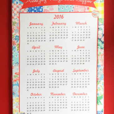 Fat Quarter 2016 Calendar Stretched Canvas
